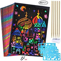 50 Sheets Scratch Art Crafts for Kids, Black Paper Magic Rainbow Painting Boards with 5 Wooden Stylus and 4 Drawing Rulers 1 Pencil Sharpener Gift for Children Kids Girls Boys