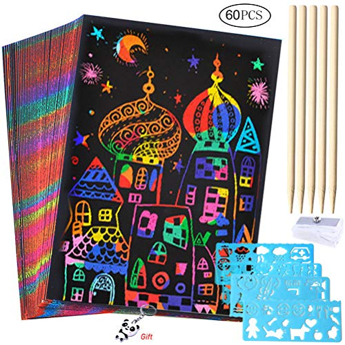 50 Sheets Scratch Art Crafts for...