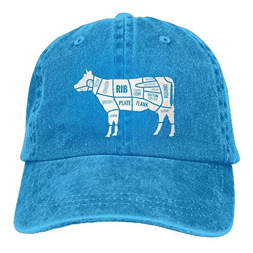 pants hats Men and Women Cow Silhouette With Meat Cuts-1 Vintage Jeans Baseball Cap