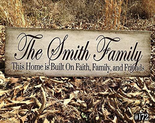 qidushop Holzschild FFF Familienname Schild Monogramm Hochzeit etabliert personalisiertes Schild Familie gegründet Geschenk für Paare Hochzeit Schild Rustikales Namensschild -