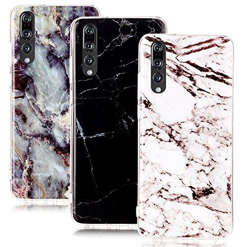 CLM-Tech kompatibel mit Huawei P20 Pro Hülle 3X, TPU Gummi Case Silikonhülle 3er Set, Marmor Muster schwarz weiß Mehrfarbig