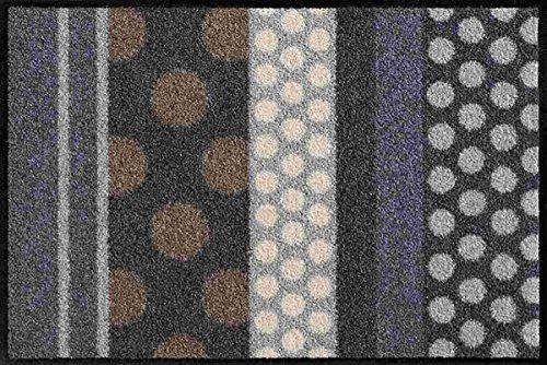 Salonloewe Fußmatte Glamour Dots Grau Waschbare Schmutzmatte, Größe:40 x 60 cm