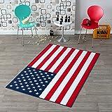 HANSE Home 102197 Teppichläufer, Polyamid, blau/rot / weiß, 134 x 200 x 0.8 cm