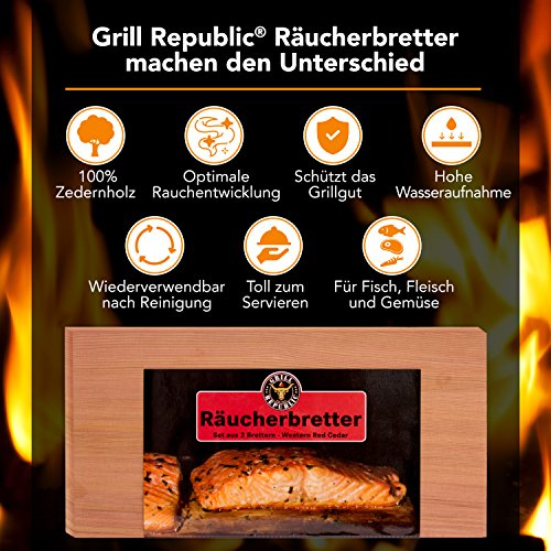 61YZWePTZDL - Hochwertige Räucherbretter zum Grillen für herrliches Raucharoma/Grillbretter aus reinem Zedernholz