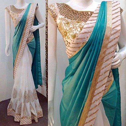 aahwan women's paper silk & georgette sarees Aahwan Women's Paper Silk & Georgette Sarees 61YZXg1oHnL