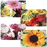 com-four 4X Vinyl Platzsets mit verschiedenen Motiven 43,5x28,3cm (Blumen)