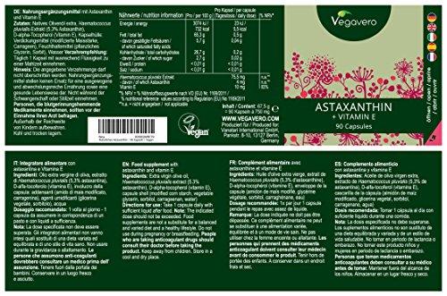 NEW: Premium Natural Astaxanthin (Hawaiian) + Vitamin E | 90 Vegan Softgels | Powerful Antioxidant Combination | Sourced from Haematococcus Pluvialis Algae | Vegan & Vegetarian by Vegavero