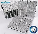 BodenMax Granit Click Bodenfliesen Set 30 x 30 cm Terassenfliesen Terassenplatte Stein Fliese Klickfliesen grau (8 Stück)