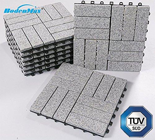 BodenMax LLGRA3H-GRY-5 Granit-barock Muster Mosaik Click Bodenfliesen Set 30 x 30 cm Terassenfliesen Terassenplatte Stein Fliese Klickfliesen Balkonfliesen Innenbereich Außenbereich grau (8 Stück) -