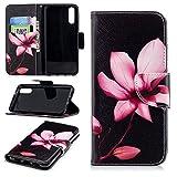 Cozy Hut Huawei P20 Hülle, PU Leder Brieftasche Ledertasche im Bookstyle Tasche Handytasche mit Magnetverschluss Kartenfach Standfunktion Case für Huawei P20 - Lotus