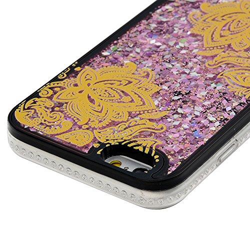 Badalink Coque iPhone 6 / iPhone 6S, Case Sables Mouvants Bling Glitter Paillettes Housse Étui Bumper Coque de Protection PC Silicone Gel Noir Souple Flexible Ultra Mince Slim Léger Anti Rayure Antich Fleur