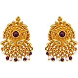 SURATDIAMOND Temple Design Real Freshwater Pearl, Red Garnet & Gold Plated Earrings for Women (SE36)