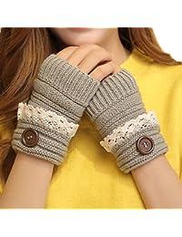 TININNA Chaud Gants d'hiver Thermiques Tricot Laine de Sans Doigt Bouton Gloves Pour Femme