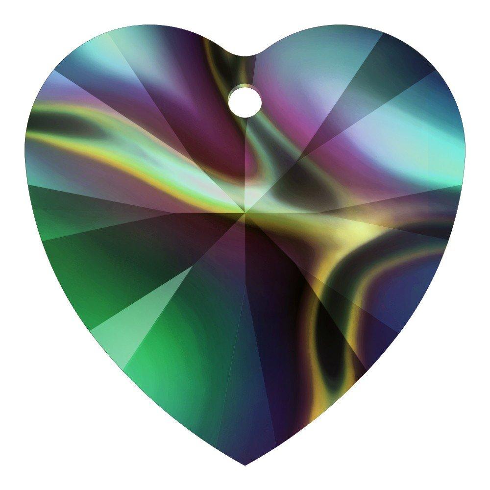 Ciondolo a forma di cuore Swarovski arcobaleno scuro 10,3�x 10�mm 24�pezzi