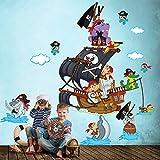 R00388 Adesivo murale per bambini Wall Art - Scimmiette all'arrembaggio 2 - Misure 60x120 cm - Decorazione parete, adesivi per muro, carta da parati