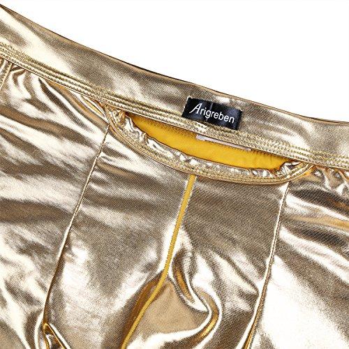 CHICTRY Herren Boxershorts Lackleder Retroshorts Briefs Pants Wetlook Unterhose Reizwäsche Lederhose M-XXL Gelb