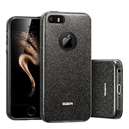 iPhone SE Hülle, ESR® Glitzer Schutzhülle [Weiche TPU Abdeckung + Glitzer Papier + PP innere Schicht] [Drei in Einem] Hülle für iPhone SE 5S 5 (Schwarz)