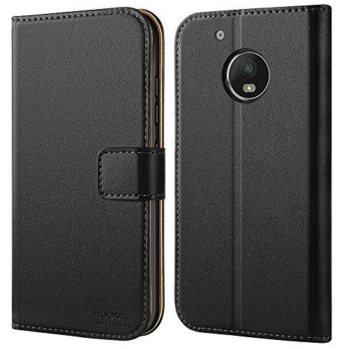 HOOMIL Moto G5 Plus Hülle, Premium Handy Schutzhülle für Motorola Moto G5 Plus Hülle Leder Wallet Tasche Flip Brieftasche Etui Schale (H3170, Schwarz)