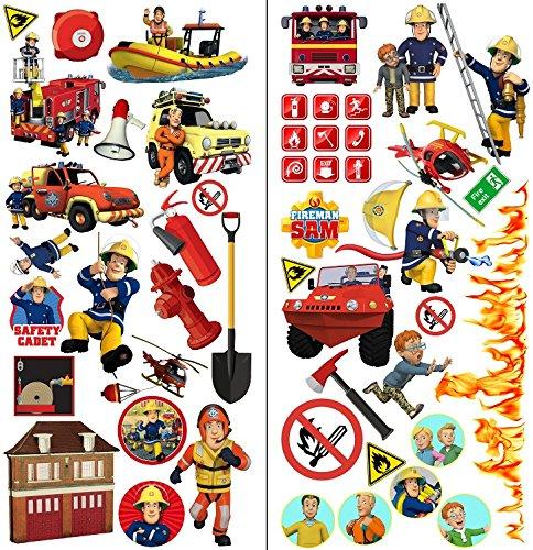 Feuerwehrmann Sam Wandaufkleber Fireman sam wandtattoo 70cm X 35cm X2blatt