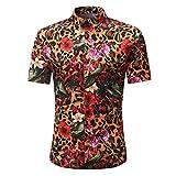BURFLY Herren T-Shirts, 2018 Man Fashion Floral Printed beiläufige Kurze Hülsen-Dünne Hemd-Oberseiten (M, Orange)