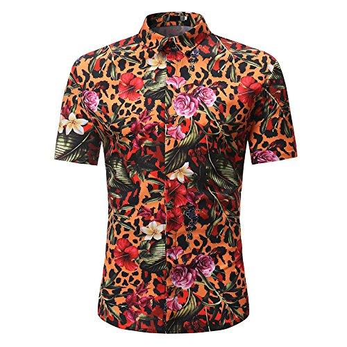 BURFLY Herren T-Shirts, 2018 Man Fashion Floral Printed beiläufige Kurze Hülsen-Dünne Hemd-Oberseiten (L, Orange)