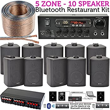 sound system kit. 10x speaker, 5 zone, background music kit \u2013 10 black wall mounted speakers, sound system