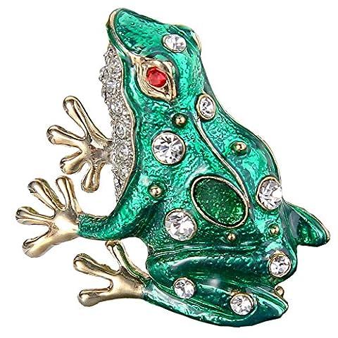 EVER FAITH® Gold-Ton österreichische Kristall Grün Emaille Sitting Frog Brosche Pin klar (Kristall Frog Pin)