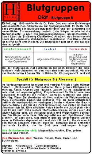 Blutgruppen Diät - Blutgruppe B - Medical Card