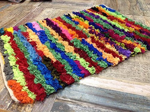 'Second Nature-Tappeto a pelo lungo in cotone indiano multicolore, Straight Edge Chindi Rag-Tappeto, 60 x 90 cm