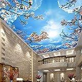Pbldb Romantische Blaue Himmel Weiße Wolken Kirschblüten Fototapete 3D Decke Wandbild Wohnzimmer Thema Hotel Pastoralen Dekor Tapete-280X200Cm