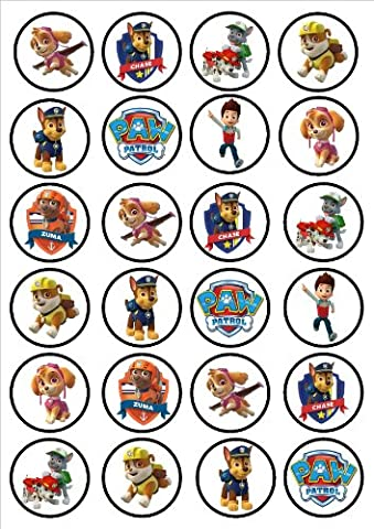 Paw Patrol Edible PREMIUM THICKNESS SWEETENED VANILLA,Wafer Rice Paper Cupcake Toppers/Decorations