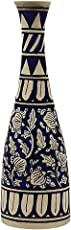 CRAFTGHAR Ceramic Flower Vase, 12x4x10-inches, Blue