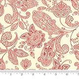 Moda Fabric Snowfall Prints Paisley Toile Poinsettia Red