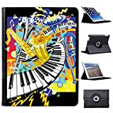 Piano/claviers Simili Cuir Snuggle Étui Coque Sac avec Support de visionnage pour Apple iPad Motif iPad 2, 3 & 4 Jazz It Up with Keyboard Saxophone & Trumpets