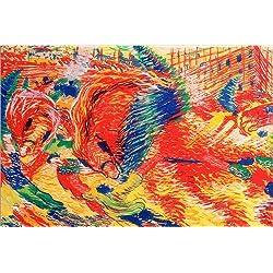 Posterlounge Leinwandbild 180 x 120 cm: Die Stadt erhöht, 1911 von Umberto Boccioni/Bridgeman Images - fertiges Wandbild, Bild auf Keilrahmen, Fertigbild auf echter Leinwand, Leinwanddruck