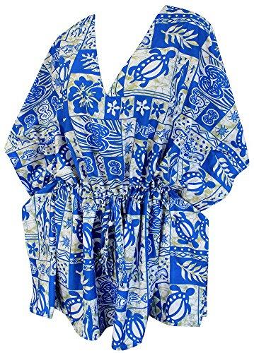 La Leela soft likre alle in 1 Hals Lounge tropische hawaiische beiläufiges Kleid Badeanzug Tunika Kordelzug Bademoden zzgl szie dehnbar Kaftan Strand-Party Pool Damen kurze Bikini-Vertuschung Blau