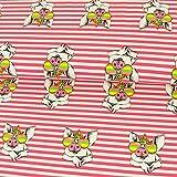Baumwolljersey cooles Einhorn Schwein gestreift pink neon