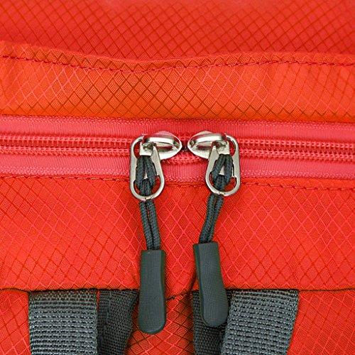 Unisex Uomo Donna Pieghevole Ultra Leggero Zaini da Escursionismo Trekking 0L Campeggio Borsa a Tracolla - Verde Militare Rosso