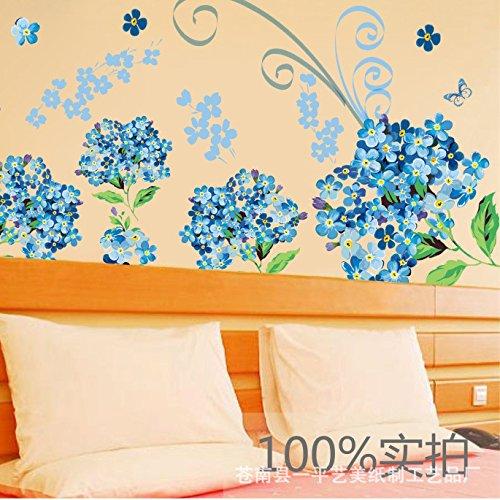 GOUZI Das Blaue Monster HEE Hortensie Wall Mount Wall Sticker abnehmbare Wall Sticker für Schlafzimmer Wohnzimmer Hintergrund Wand Bad Studie Friseur -