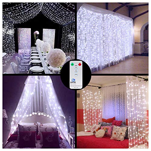LED Curtain Lights Window Curtain Fairy Lights 306 LEDs 3m x 3m Indoor Ollny Icicle String Lights with Remote for Wedding Xmas Christmas Outdoor Party Decorations White