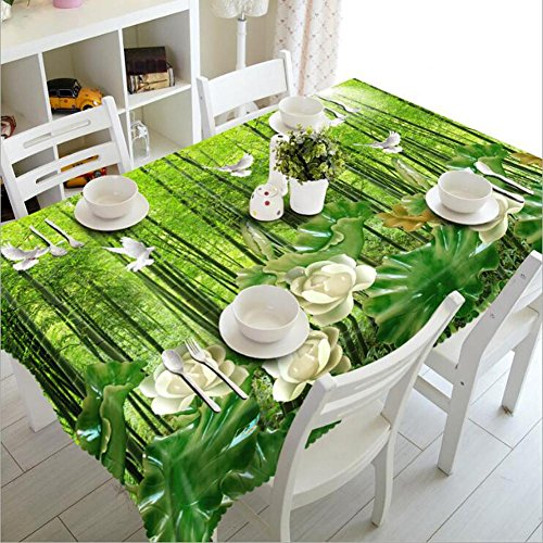 HUANZI Rectangulaire Nappe 3D Pigeon Blanc dans La ForêT en Bambou Imprimant La Nappe De Table Oblongue, Vert, Rectangle 80cm*150cm