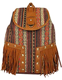 Ayeshu Multi Printed Frill Canvas Backpack