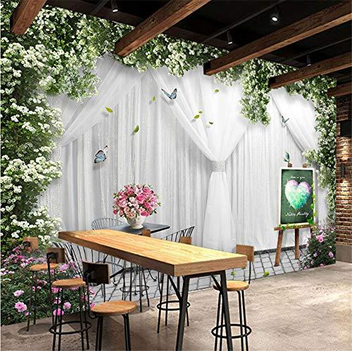 Benutzerdefinierte Wandbild Tapete 3D Rose Vorhang Hochzeit Haus Thema Hotel Restaurant Hintergrund Tapeten Für Wände