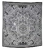 Dremisland Wandteppich Hamsa Hand Indischer Mandala Hippie Bohemien Wandbehang Schwarz und weiß Tuch Tapisserie Gobelin Wandtuch Orientalisch Psychedelic 203 X 153CM