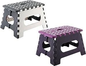 axentia Klapphocker aus Kunststoff, Faltbarer Tritthocker stabil bis 150 kg, kompakter Klapptrit in grau oder lila, Maße: ca. 35 x 27 x 22 cm