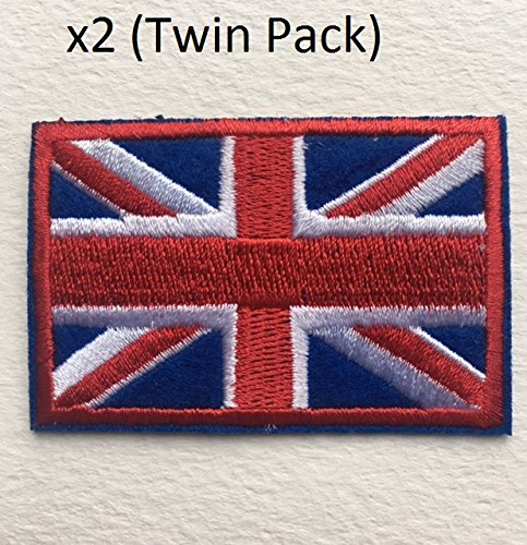 Twin Pack (2NO) British Union Jack bestickte Applikation England Flagge UK Großbritannien Eisen auf Sew auf Patch Badge
