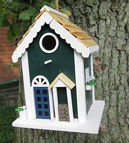 """Westerholt 2006 Nistkasten grün \""""Villa Kunterbunt\"""" Vogelhaus Höhle Massivholz 18,5x18,5x25cm Flugloch 3cm handbemalt"""