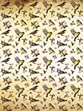 Fototapete Tapete Wandbild Welt-der-Träume | Kleine Vögel und Blumenmuster | P4A (254cm. x 184cm.) | Photo Wallpaper Mural 10402P4A-MS | Natur Muster Blume Blumen Vogel Vögel Frühling