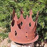 Dekostüberl Edelrost Krone mit Schraube für Holz D15 cm,inkl. Herzle 8x6cm Gartendekoration Windlicht