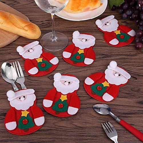 Mbuynow 6pcs Bolsa de Cubiertos de Navidad, Paquete de Vajilla de la Navidad Santa Claus Decoracion de Fiesta de Navidad